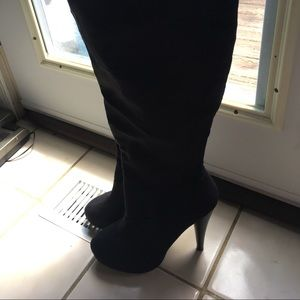 Michael Antonio black suede knee high boots